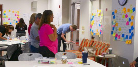Teachers work on curriculum design at the Deeper Learning Summer Academy